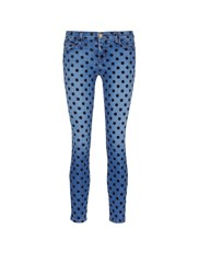 Current Elliott 'The Stiletto' Flocked Polka Dot Jeans Blue