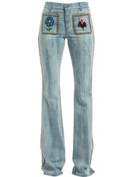 Gucci Studded And Embroidered Flair Denim Jeans