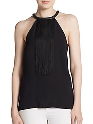 Yigal Azrouel Fringe Leather Accented Silk Blouse Blue Multi