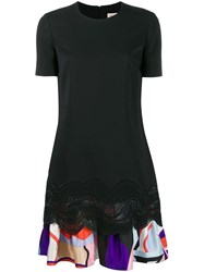 Emilio Pucci Embroidered Dress With Printed Ruffle Hem Black