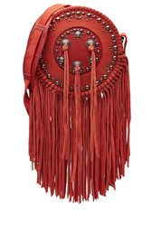 Zadig And Voltaire Embellished Leather Shoulder Bag With Fringe Red