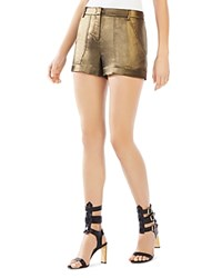 Bcbgmaxazria Camryn Metallic Cargo Shorts Black Gold