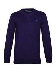Raging Bull Big And Tall V Neck Cotton Cashmere Jumper Navy