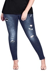 City Chic Plus Size Women's Harley Tear It Up Ripped Jeans Dark Denim