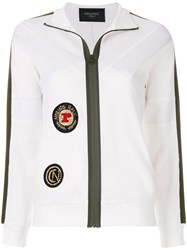 Mr And Mrs Italy Patched Zipped Cardigan White