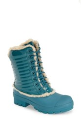 Hunter Original Genuine Shearling And Patent Leather Lace Up Rain Boot Blue