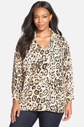 Vince Camuto Animal Print Tie Neck Blouse Plus Size Multi