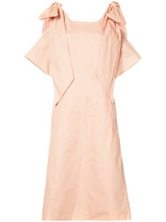 Chloe Ribbon Sleeve Shift Dress Women Cotton 36 Pink Purple