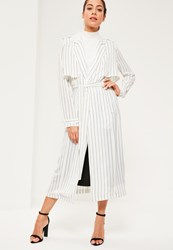 Missguided White Pin Stripe Tie Waist Maxi Duster Jacket