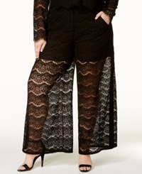 Standards And Practices Trendy Plus Size Lace Palazzo Pants Black