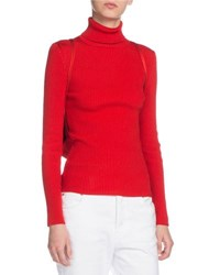 Ribbed Turtleneck Sweater W Matching Drawstring Backpack Red