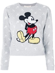 Marc Jacobs Shrunken Eyelet Sequin Mickey Sweatshirt Women Cotton S Grey