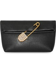 Burberry The Small Pin Clutch In Leather Black