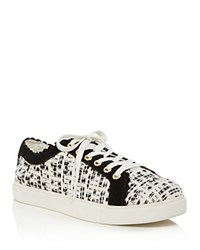 Jack Rogers Scalloped Suede And Tweed Low Top Lace Up Sneakers Black White