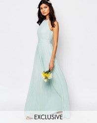 Tfnc Wedding High Neck Pleated Maxi Dress Morning Mist