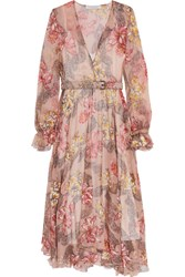 Philosophy Di Lorenzo Serafini Belted Floral Print Silk Chiffon Midi Dress Blush