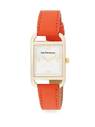 Saks Fifth Avenue Goldtone Faux Leather Strap Watch