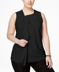 Alfani Plus Size Ruffled Zip Front Blouse Only At Macy's Deep Black