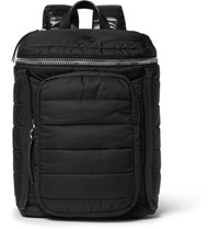 Moncler New Yannick Leather Trimmed Quilted Nylon Backpack Black