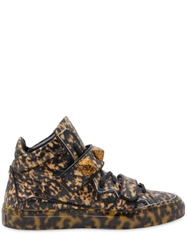Giacomorelli Printed Leather High Top Sneakers Brown