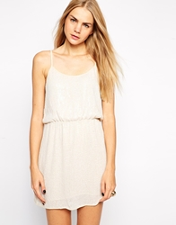 Aryn K Deep V Spaghetti Strap Sequin Dress Ivory