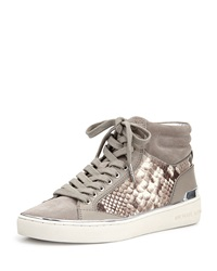 Kyle Leather Suede High Top Sneaker Pearl Gray Michael Michael Kors
