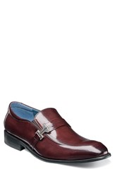 Stacy Adams Jonas Apron Toe Slip On Burgundy Leather