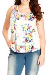 Plus Size Women's City Chic 'Geo Floral' Lace Inset Sleeveless Top