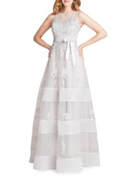Teri Jon Embroidered Floral Tulle Gown Silver