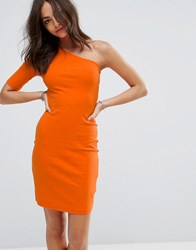 New Look Ribbed One Shoulder Body Conscious Dress Orange