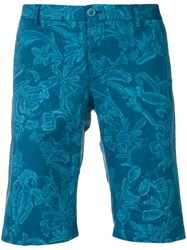 Etro Wild Nature Printed Shorts Blue