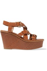 Michael Kors Leather Woven Wedge Sandals Brown