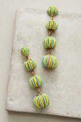 Anthropologie Candy Stripe Drop Earrings Yellow Motif