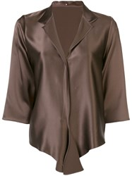 Peter Cohen Spread Collar Blouse Brown