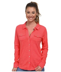 Carve Designs Anderson Button Down Papaya Women's Long Sleeve Button Up Orange