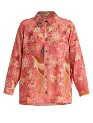 By Walid Lucy Bird Print Silk Shirt Pink Print
