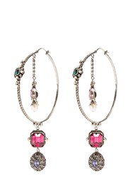 Alexander Mcqueen Crystal And Pearl Embellished Hoop Earrings Multi