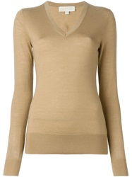 Michael Michael Kors V Neck Sweater Brown