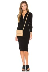 Autumn Cashmere Zip Mock Neck Sweater Dress Black