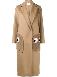 Anya Hindmarch Pac Man Ghost Coat Nude Neutrals