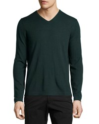 Neiman Marcus Wool V Neck Modern Fit Sweater Green Lake