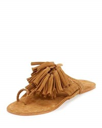 Figue Scaramouche Suede Tassel Thong Sandals Brown