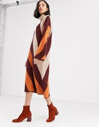 Native Youth High Neck Jumper Dress In Contrast Stripe Knit Tan