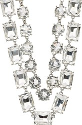 Kenneth Jay Lane Double Strand Crystal Necklace Silver
