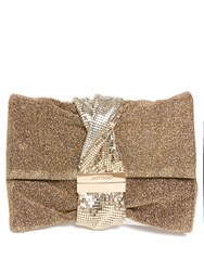 Jimmy Choo Chandra Lurex And Chainmail Clutch Gold
