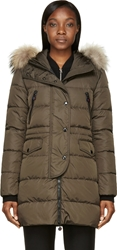 Moncler Olive Green Fur Trimmed Quilted Fragon Parka