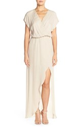 Women's Rory Beca 'Plaza' Faux Wrap Silk Georgette Cutaway Gown