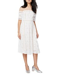 Rachel Roy Jewelneck Short Sleeve Dress White