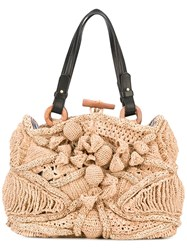 Jamin Puech Straw Bag Women Raffia Leather One Size Brown