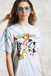 Forever 21 Animaniacs Graphic Tie Dye Tee Blue White